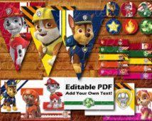 100 + pages imprimables Paw patrouille anniversaire partie décoration numérique Téléchargement instantané avec patte patrouille partie bannière / banderoles / Cupcake Toppers