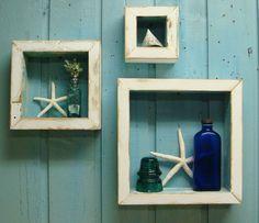 White and Turquoise Shadowbox Shelf Set