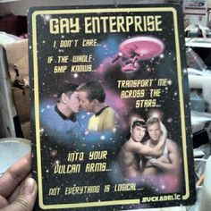 Going on sale at the same time and place as the new Suckator version and the Gay Energon piece, Gay Enterprise is a two-figure pack that is sure to make all the Spock and Kirk 'slash fiction' writers out there go nuts. Limited to a mere 40 copies of this resin cast duo with original backing board, this Star Trek parody will set you back $150.