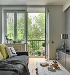 decordemon: Scandi style apartment in Moscow with a splash of bright color Apartment Balcony Decorating, Apartment Interior, Living Room Grey, Living Room Sofa, Tiny House, Style Deco, Ikea, Scandi Style, Home Decor Inspiration