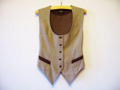 Grey Striped Womens Vest Grey Waistcoat Wool Blend Steampunk Vest Formal Waistcoat Small Size