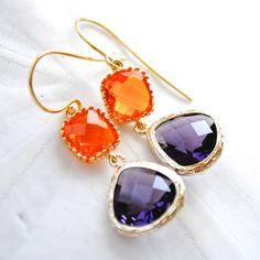 Clemson Jewel Earrings. Orange and Purple. Bridesmaids Earrings. on Etsy, $40.00
