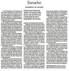 IRAM DE OLIVEIRA - opinião: Brasil á beira do abismo