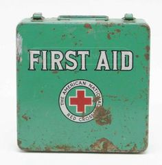 Vintage American Red Cross First Aid Metal Case