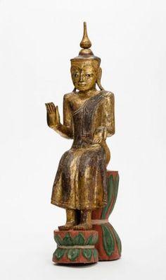 "DER BUDDHA DER ZUKUNFT MAITREYA - Hartholz, Lackfassung und Vergoldung. Burma, 19.[...], mis en vente lors de la vente ""Art d'Asie"" à Galerie Zacke | Auction.fr"