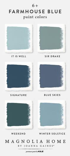 magnolia homes joanna gaines Farmhouse Blue Paint Color Palette. Magnolia Home Paint Collection. Paint Color Palettes, Blue Colour Palette, Light Blue Paint Colors, Shades Of Light Blue, Blue Colors, Paint Colours, Bedroom Paint Colors, Exterior Paint Colors, Diy Exterior
