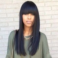 Wholesale Charming Silky Straight Long Synthetic Full Bang Black Wig For Women Only $8.18 Drop Shipping | TrendsGal.com