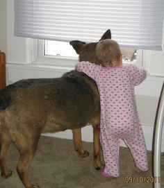 "Lessons Kids Learn From Pets ""My daughter has learned how to crawl with the help of our dog, as well as how to bark and unfortunately beg. Our dog is now helping to teach our youngest to crawl too. They are best friends."" - Bonnie Littlejohn"