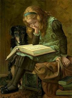 young girl reading, painting by james charles