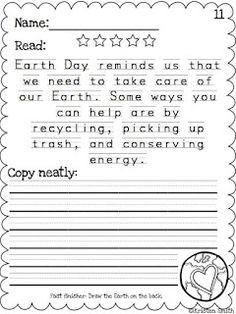 work on reading, handwriting, and copying skills with these printables {love this for Earth Day!}