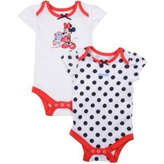 Disney Minnie Mouse 2 Pack Bodysuit for Girl 9-12 M ❤ liked on Polyvore featuring baby