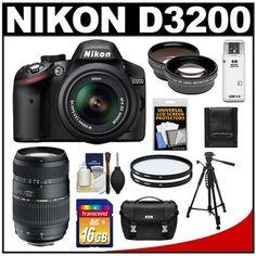 Nikon D3200 Digital SLR Camera & 18-55mm G VR DX AF-S Zoom Lens (Black) with 70-300mm Lens + 16GB Card + Case + Filters + Tripod + Telephoto & Wide-Angle Lens Kit by Nikon. $799.95. Kit includes:♦ 1) Nikon D3200 Digital SLR Camera & 18-55mm VR AF-S Zoom Lens (Black)♦ 2) Tamron 70-300mm Di Zoom Lens (BIM) (Nikon)♦ 3) Transcend 16GB SecureDigital Class 10 (SDHC) Card♦ 4) Nikon Deluxe Digital SLR Camera Case♦ 5) Vivitar 52mm UV Glass Filter♦ 6) Vivitar 62mm UV Glass F...