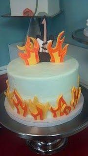 Guitar & flames Cake for rockstar party