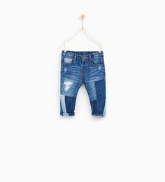 ZARA - KIDS - RIPPED JEANS WITH CONTRASTING TRIMS