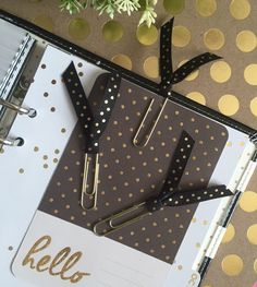 Gold & Black Polka Dot Ribbon Clips / ECLP / Erin Condren / Planner / Calendar by PugPaperCo on Etsy https://www.etsy.com/listing/246766551/gold-black-polka-dot-ribbon-clips-eclp