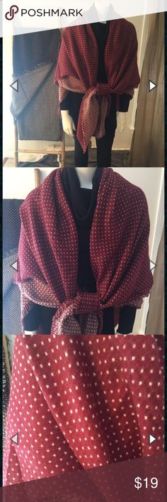 Oversized Polka Dot Blanket Scarf Check out this adorable polka dotted oversized version of the classic blanket scarf! Blanket scarves have been all the rage for the past few years and it is because they are super soft and warm and so very versatile! Please indicate color if purchasing (Navy or Burgundy). This is a new boutique item so price is firm. Product Description 100% Acrylic  Machine wash gentle and cold. Hang dry.  Made in China.  56″ X 64″ (The traditional blanket scarves are 58″…