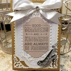 ChrissyBil | docrafts.com Shoe card made using Spellbinders Enchanted Labels dies  and Tattered Lace shoe die