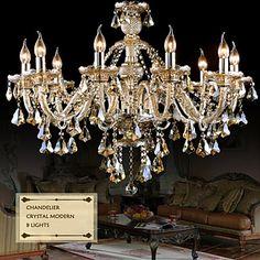 Chandelier  Cognac Color Crystal Modern 8 Lights   Living Room/Bedroom/Dining Room/Kitchen/Garage – AUD $ 373.22