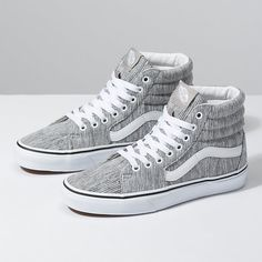 The Slim, a slimmed down version of the legendary lace-up high top, features sturdy canvas and suede uppers, signature waffle rubber outsoles, and padded collar and heel counters for support and flexibility. Cute Vans, Cute Shoes, Me Too Shoes, High Top Vans, High Tops, High Top Sneakers, Vans Shoes Women, Boys Shoes, Vans Boots
