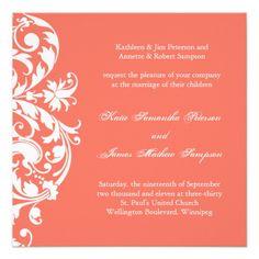 Shop Coral Wedding Programs created by colourfuldesigns. Coral Wedding Themes, Fuschia Wedding, Coral Wedding Invitations, Custom Invitations, Wedding Stationery, Wedding Colors, Wedding Planner, Invites, Coral Weddings