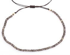 Smokey Quartz Choker or Necklace Gemstone Choker Adjustable