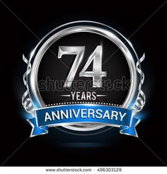 Logo celebrating 74 years anniversary with silver ring and blue ribbon.