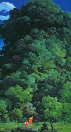 for more HQ green aesthetic wallpapers, color palettes, and inspo click through to our post! Anime Scenery Wallpaper, Green Wallpaper, Nature Wallpaper, Art And Illustration, Aesthetic Backgrounds, Aesthetic Wallpapers, Studio Ghibli Background, Studio Ghibli Movies, Green Art