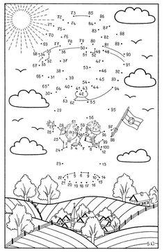 Ausmalbild Malen nach Zahlen: Malen nach Zahlen: Kinder im Fesselballon kostenlos ausdrucken