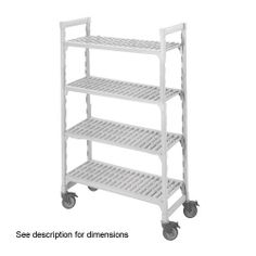 "Cambro Camshelving 21 Wide X 42 Length X 67 High Mobile Starter Unit by Cambro. $612.68. 12. CAMSHELVING MOBILE STARTER UNIT, 21""""""""W X 42""""""""L X 67""""""""H, 4 SHELF, INCLUDES: 4 POSTS, 2 SETS POST CONNECTORS, TRAVERSES <(>&<)> 473439. Save 36%!"