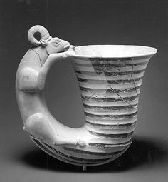 Vessel with a handle in the form of a ram    Period:      Iron Age III  Date:      ca. 8th–7th century B.C.  Geography:      Southwestern Iran  Medium:      Ceramic, paint  Dimensions:      7.48 in. (19 cm)  Classification:      Ceramics