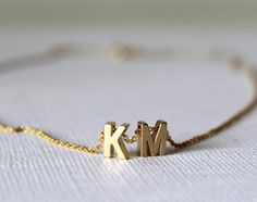 Tiny gold initial necklace gold letter necklace initials name necklaces pendant for women girls . 14k Gold Initial Necklace, Letter Charm Necklace, Monogram Bracelet, Engraved Necklace, Diamond Solitaire Necklace, Gold Letters, Unique Necklaces, Bridesmaid Jewelry, Silver Jewelry