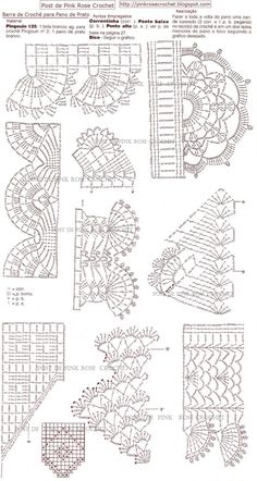 If you looking for a great border for either your crochet or knitting project, check this interesting pattern out. When you see the tutorial you will see that you will use both the knitting needle and crochet hook to work on the the wavy border. Crochet Stitches Chart, Crochet Mat, Crochet Edging Patterns, Filet Crochet Charts, Crochet Lace Edging, Crochet Borders, Crochet Diagram, Doily Patterns, Thread Crochet