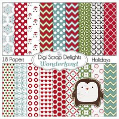Christmas Papers Digital Scrapbooking Paper  #Red #Green #turquoise by DigiScrapDelights,
