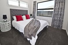 Large Double Bedroom | Adult Bedroom | Guest Bedroom | Neutral | Red and Grey | Dark Carpet Room | Drapes | Blinds | Interior | Home Design Drapes And Blinds, Dark Carpet, Neutral Bedrooms, Double Bedroom, Red And Grey, Bedroom Inspiration, House Design, Interior, Furniture