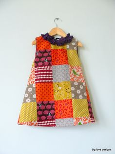 Items similar to Patchwork dress with ruffle neck. Size on Etsy OMG. I need a baby girl one day. Baby Girl Dresses, Baby Dress, Little Girl Outfits, Kids Outfits, African Dresses For Kids, Girls Frock Design, Kids Dress Wear, Baby Sewing Projects, Frocks For Girls