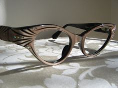Vintage Cateye Frames Cat Eye by Frame France, Pearlized Rose Pink Black Rhinestones, NOS Eyeglasses Sunglasses FABULOUS