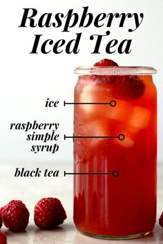 How to make raspberry iced tea at home. - Raspberries - Ideas of Raspberries - How to make raspberry i : How to make raspberry iced tea at home. - Raspberries - Ideas of Raspberries - How to make raspberry iced tea at home. Diet Drinks, Smoothie Drinks, Non Alcoholic Drinks, Healthy Drinks, Smoothie Recipes, Healthy Food, Smoothies, Cocktails, Health Drinks Recipes