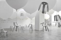 oskar zieta bazair installation with aluminium plopp stools Inspiration Design, Installation Art, Designer, Workshop, Ceiling Lights, Stools, Home Decor, Range, Elegant