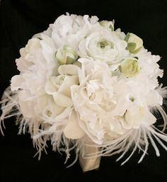 Silk Wedding Bouquet with Off White Roses, Peonies and Ranunculus - Natural Touch Silk Flower Bride Bouquet - Feather Bouquet by Wedideas on Etsy https://www.etsy.com/listing/155451597/silk-wedding-bouquet-with-off-white