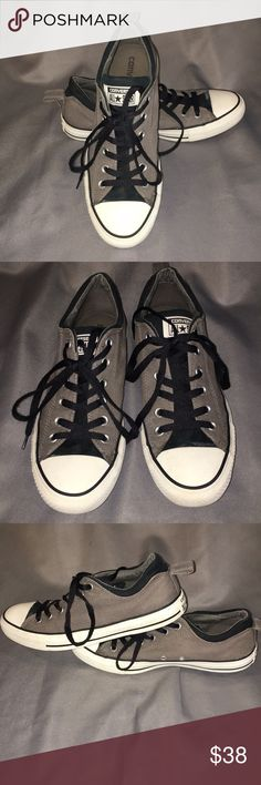 Converse Gray & Black Low Tops Men's 8/Women's 10 Converse Gray & Black Low Tops Men's 8/Women's 10. They are comfort heels.  Gently used. Black & Gray Canvas with black laces.  Checkout my other listings and add to a bundle to save! Converse Shoes Sneakers