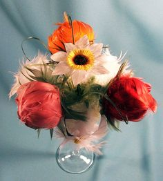 Real Feather flowers centerpiece Spring blooming  by VeriFeather