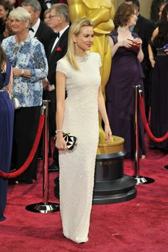 On the Red Carpet at the Oscars - 2014 - Naomi Watts in Calvin Klein Collection and Bulgari jewelry.