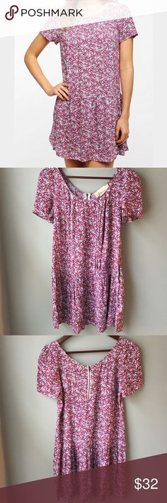 Coincidence & chance floral drop waist dress Pink and purple floral drop waist dress by coincidence and chance, an urban outfitters brand. Zipper in back. Perfect for spring. Size Small. 100% rayon. Urban Outfitters Dresses