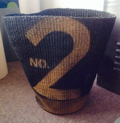 Upcycled spray paint and stencil basket.