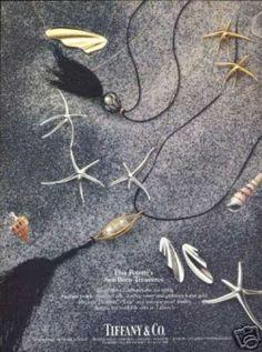 Elsa Peretti Sea Jewelry Photo Tiffany & Co Sea Jewelry, Jewelry Ads, Photo Jewelry, Vintage Jewelry, Jewelry Accessories, Fashion Jewelry, Jewellery, Bunny Costume, Watch Ad