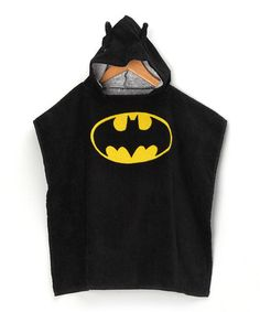 This Black Batman Terry Hooded Poncho - Boys is perfect! #zulilyfinds