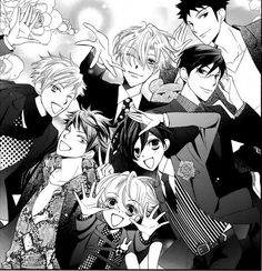 The entire gang. OHSHC // Haruhi may be there, but she's dressed as a boy, so...