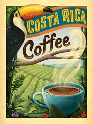 Costa Rica Coffee - This vintage print is perfect for any coffee-lover who likes to decorate with a lush tropical vibe. Printed on gallery-grade paper, this classic piece of caffeinated decor is sure to make any wall brighter and happier!<br />