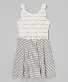 Heather Gray Stripe Lace Skater Dress by Btween #zulily #zulilyfinds