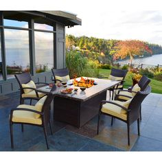 South Beach All Weather Wicker Dining Fire Pit Chat Set. Patio Furniture  SetsOutdoor ...